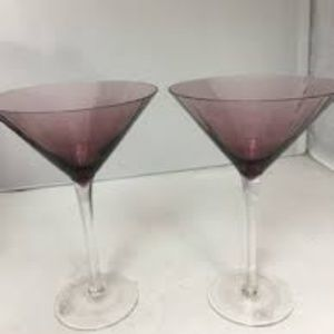 Other - Set of 2 Large Amethyst Martini Glasses